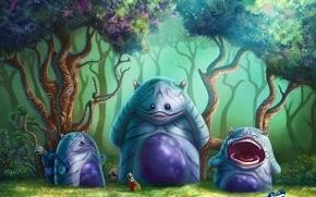 Картинка лес, кроссовок, череп, рука, арт, существа, кетчуп, плач