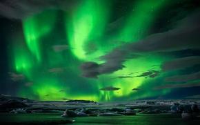 Картинка лед, зима, небо, звезды, ночь, северное сияние, тороссы