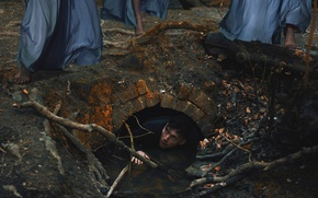 Картинка вода, фантазия, ноги, арт, парень, платья, канава, sisters of the night