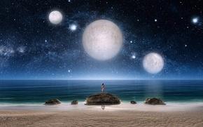 Обои планеты, арт, звездное небо, море, три, девушка, ночь, фантастика, звезды, камни