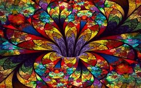 Картинка цветок, стекло, лепестки, витражи, объем