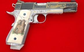 Картинка Кольт, магазин, шикарный, 1911, weapon, gun, pistol, красный, Пистолет, customization, золочение, automatic, custom weapons, крючок, ...