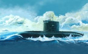 Картинка рисунок, арт, Russian Kilo Class Attack Submarine