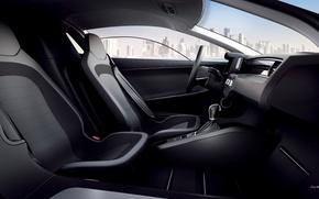 Картинка море, город, Volkswagen, XL1, вид с пассажирского сиденья