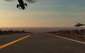 Картинка дорога, машины, нло, погоня, вертолеты, арт, тарелка, ufo