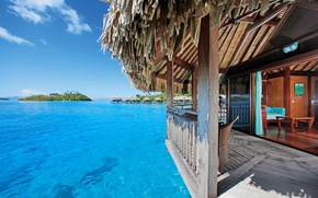 Картинка ocean, view, Bora-Bora, water Villa