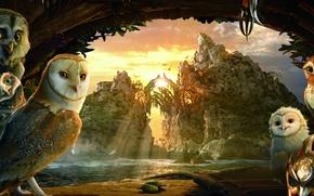 Обои совы, горы, The Legend of the Guardians, The Owls of Ga'Hoole, красивые птицы, 3 D ...