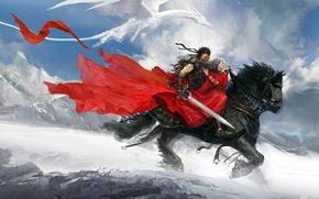 Картинка девушка, дракон, воин, Арт, верховая езда, горы снег