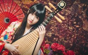 Картинка взгляд, девушка, зонтик, азиатка, музыкальный инструмент, лютня, пипа