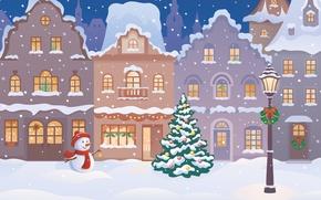 Картинка зима, снег, city, город, города, елка, новый год, дома, снеговик, new year, winter, snow, houses, ...