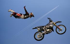 Картинка небо, мотоцикл, гонки, гонщик, реактивный самолет