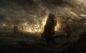 Картинка взрыв, оружие, огонь, робот, арт, солдаты, броня, руины, битва, sundragon83