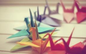 Картинка макро, бумага, фото, фон, обои, оригами, журавлики