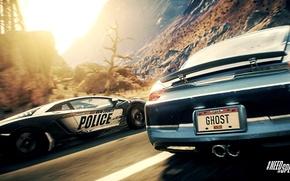 Картинка Lamborghini, Police, Day, Desert, NFS Rivals Wallpaper, Chase, Exotic Car