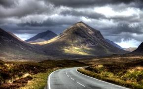 Картинка дорога, горы, тучи, Природа, road, nature