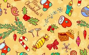 Картинка зима, игрушки, вектор, текстура, свечи, Новый Год, Рождество, конфеты, Christmas, праздники, New Year