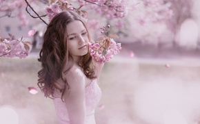 Обои девушка, весна, сад