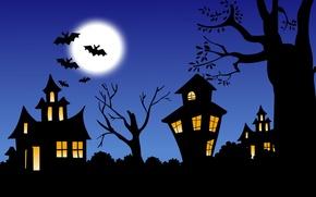 Картинка ночь, замок, луна, Хеллоуин, летучие мыши