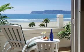 Картинка кресло, вид, вилла, океан, столик, терраса, Калифорния