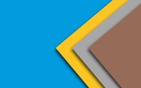 Картинка желтый, голубой, геометрия, коричневый, material, Lolipop