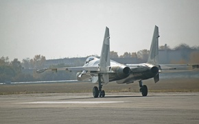 Обои Су 35, двигатели, ВПП, приземлился