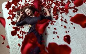 Картинка девушка, розы, лепестки, постель, в черном платье