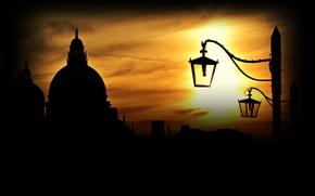 Картинка небо, закат, здания, дома, фонари, Италия, Венеция, Italy, Venice