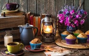 Картинка цветы, книги, кофе, букет, чайник, очки, фонарь, колокольчик, кексы, письма