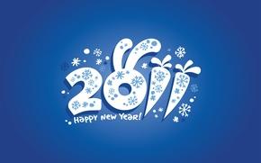 Картинка дата, праздник, снежинки, поздравления, 2011, новый год, число, заяц, уши, морковь