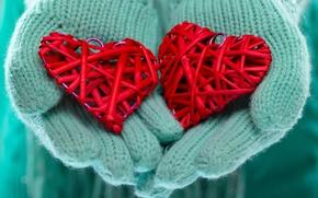 Картинка зима, любовь, сердце, руки, love, heart, winter, варежки, hands