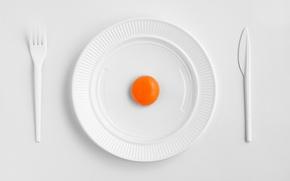 Картинка тарелка, нож, вилка, желток