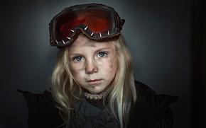 Картинка портрет, очки, девочка, Поля, чумазая, Георгий Чернядьев