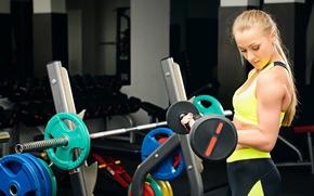 Обои workout, gym, sportswear, blonde, fitness