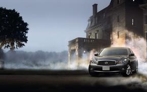 Обои дым, nissan fuga cars, туман, дома, пыль, ниссан, машины