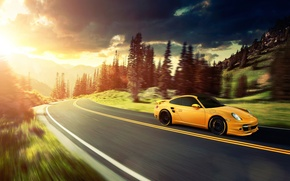 Картинка солнце, горы, жёлтый, 911, Porsche, порше, yellow, Turbo, Ronaldo Stewart