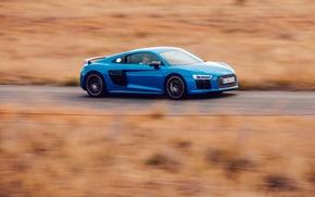 Картинка car, синий, Audi, скорость, автомобиль, blue, V10, Plus