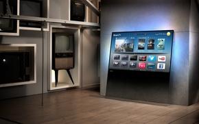 Картинка будущее, прошлое, интерьер, телевизоры, smart tv, Philips DesignLine TV