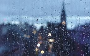 Обои raining, glass, cityscape, drops