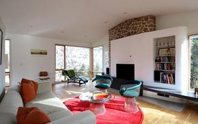 Картинка комната, диван, интерьер, мебель, ковер, розовый, гостиная, подушки, дизайн
