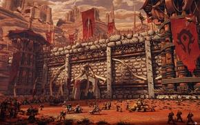 Картинка горы, World of Warcraft, крепость, WOW, орки, орда, знамена