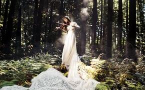 Картинка лес, девушка, музыка, скрипка
