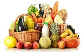 Обои картофель, перчик, вино, капуста, корзины, хлеб, зелень, бутылки, баклажан, продукты, дыня, яйца, сыр, фрукты, ананас, ...