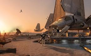 Картинка пустыня, планета, Star Wars, Звездные войны, космический корабль, штурмовики