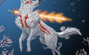 Картинка огонь, волк, меч, сакура, арт, Okami