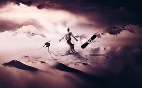 Обои барханы, корни, креатив, фантазия, обои, сноуборд, человек, арт, шлем, desktop, wallpaper, пески