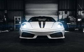 Картинка белый, F430, Ferrari, white, спорткар, феррари, италия, front, Scuderia