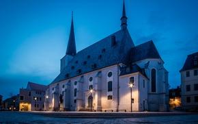 Картинка огни, вечер, Германия, площадь, Thüringen, Weimar, Stadtkirche Sankt Peter und Paul