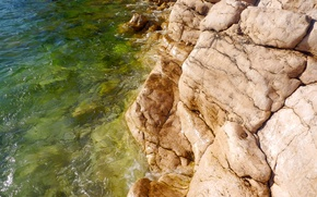 Картинка пляж, зеленый, камень, воды