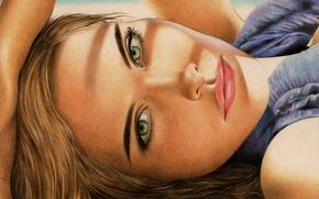 Картинка взгляд, девушка, лицо, волосы, рука, живопись, зеленые глаза, Isabel Lucas