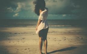 Картинка shadow, wind, beach, girl